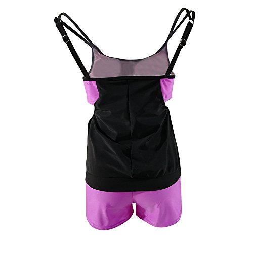 Italily -Costumi da Bagno per Donna Plus Size Halter Tankini Set Due pezzi Swimsuit Donna Ragazza Costumi da Bagno Casual Push Up Bandeau Beachwear costumi da mare Purple
