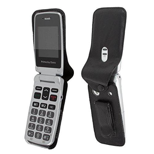caseroxx Handy-Tasche Ledertasche mit Gürtelclip für Doro Primo 405 aus Echtleder, Handyhülle für Gürtel (mit Sichtfenster aus schmutzabweisender Klarsichtfolie in schwarz)