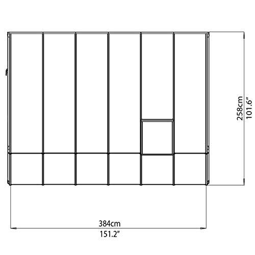 """RION Kunststoff Anlehngewächshaus / Wintergarten """"Sun Room 46"""" (384 x 258 x 266cm (TxBxH) + Dachfenster"""