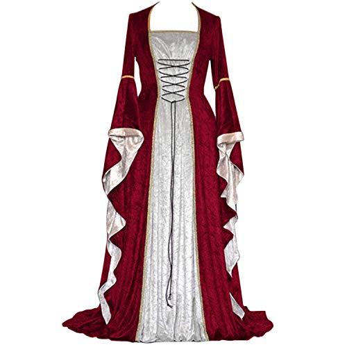 Renaissance Kostüm Römische - ♥ Loveso♥ Damen Langarm Renaissance Mittelalterliche Kleid mit Trompetenärmel Party Kostüm Maxikleid Königin Kostüm Maxikleid