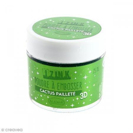 Aladine 10201 Poudre à Embosser 25 ml Vert Cactus