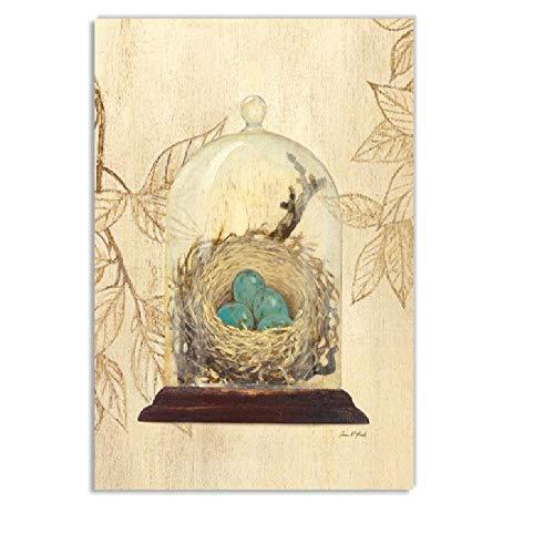 Aquarell Buch Vogel Vogelnest Drucke Nordic Poster Vintage Wandkunst Leinwand Malerei Wandbilder Für Wohnzimmer Wohnkultur d 50x70cm (Vintage Comic-buch-wand-kunst)