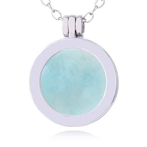Morella collana donna 70 cm acciaio inossidabile con small coins moneta amuleto ciondolo chakra rotondo 23 mm gemma pietra preziosa amazzonite in sacchetto di velluto