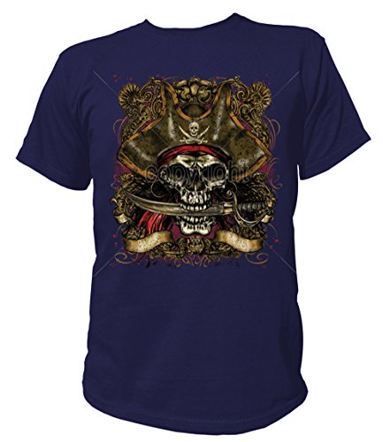 Morgan Captain Kostüm Shirt - Artdiktat Herren T-Shirt - CAPTAIN PIRATE SKULL WITH DAGGER Größe XL, navy