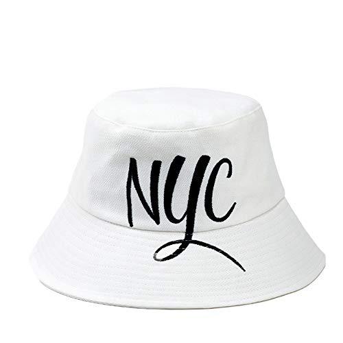 en Frühling Sommer Sonnenschutz Falten Top Wind Strand Sonnenschutz Mode Schatten Reise Reise UV Schutz (Farbe : Weiß, Design : NYC) ()