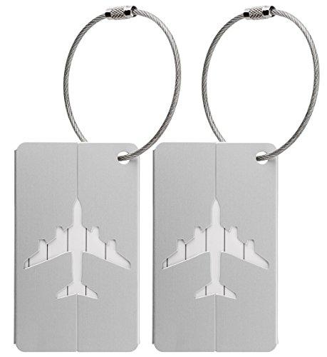 Kofferanhänger aus Metall mit Namensschild und Flug-Motiv 2 Stück - Silber metallic