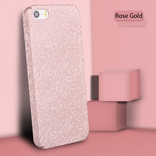 iPhone 5 Case, iPhone 5S Case, Yunbaozi Mosaic Grid Texture Hard Protective Case for iPhone SE 3D Frosted Case Slim Shell Anti-Scratch Anti-Shock Anti-Slip Cover for iPhone 5/5S/SE - Pink