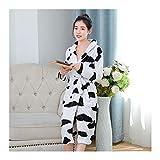 GAOHUI Damen Herbst Winter Warm Home Hotel Flanell Bademantel Langarm Kuh Farbe Schlafanzug, Schwarz Und Weiß, M (150-160 cm)