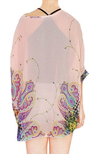 Oksakady Plus Size T-Shirt per Donne Chiffon Batwing 3/4 Manica Doman Tunica Boho-14