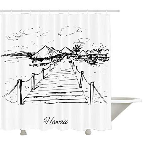 Yeuss hawaiianische Dekorations-Kollektion, Sketch Style Hawaii Dock Tiki Hütten Bungalows Tropische Bäume Beachy Boho Dekor, Bad-Duschvorhang aus Polyestergewebe mit Haken, Schwarz Weiß
