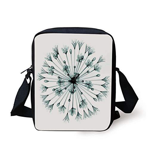 Xray Flower,Pattern of Bell Agapanthus Flower Geometric Design of Nature Inner Vision Art,Teal White Print Kids Crossbody Messenger Bag Purse