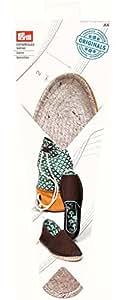 Prym Espadrilles Woven Sohle mit Gummi Boden Schnittmuster, Stroh/Jute, natur, UK Größe Kinder 12, EU Größe 30/31, 1Paar