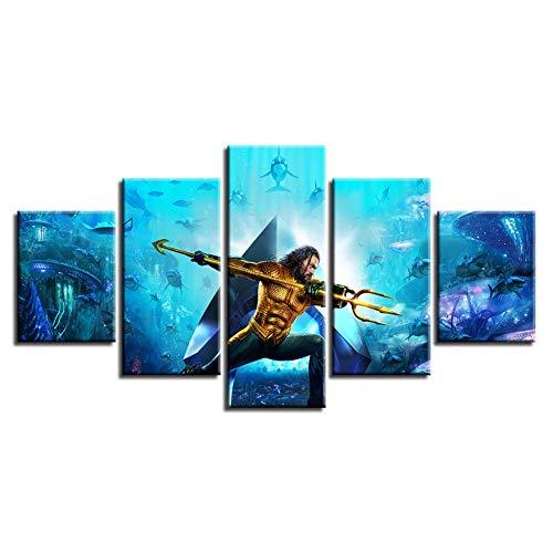 JSBVM Lona Impresiones HD Aquaman Imágenes Moderno Obras de Arte 5 Piezas Pinturas murales Decoración del hogar 4