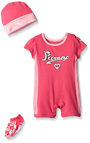 Puma Baby-Girls Romper Hat Socks Set Pink Glow