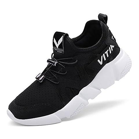 Garçon Fille Chaussures De Course Sports Sneakers Walking Chaussures(Noir EU37)