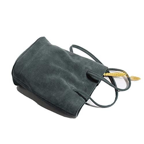 GDXH Frauen Eimer Tasche Reißverschluss Umhängetasche Retro Faux Wildleder Tasche Handtasche Schulter Kleine Tasche,B -