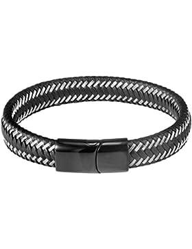 PROSTEEL Armband Hochwertig Schwarz Lederarmband Geflochten Seil Armreif Edelstahl Magnetverschluss Herren Armband