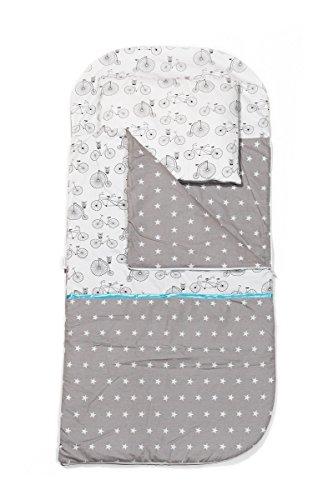 Kempkids set di sacco a pelo + cuscino per bambini in età prescolare stuoia del nap sacchetto di sonno taglie: sacco a pelo 115 x 70cm guanciale 35 x 70 cm biciclette