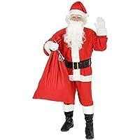 Foxxeo 9-teiliges Weihnachtsmann Nikolauskostüm Kostüm für Herren Mit - Mütze, Bart, Gürtel und Handschuhe