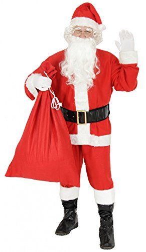 Foxxeo 9-teiliges Weihnachtsmann Nikolauskostüm Kostüm für Herren Mit - Mütze, Bart, Gürtel und Handschuhe, Gr.-L, Rot-Weiß (Santa Kostüm)