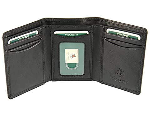 Visconti Mens Gents Trifold Genuine Leather Wallet For Credit Cards, Banknotes (Black)