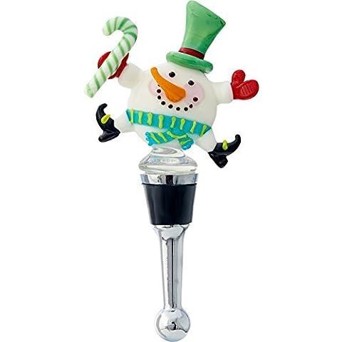 LS Arts Happy Dancing Snowman Winter Wine Bottle Stopper by LSArts - Snowman Wine Glass