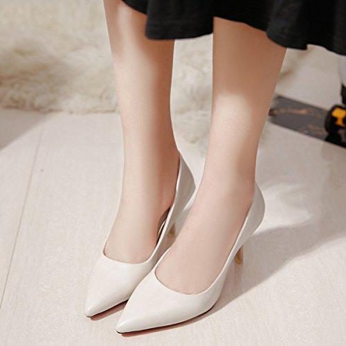 Damen Pumps Spitz Zehen Stilettos Atmungsaktiv Slip On Europäischen Stil Beständige Eibfache Schuhe Weiß