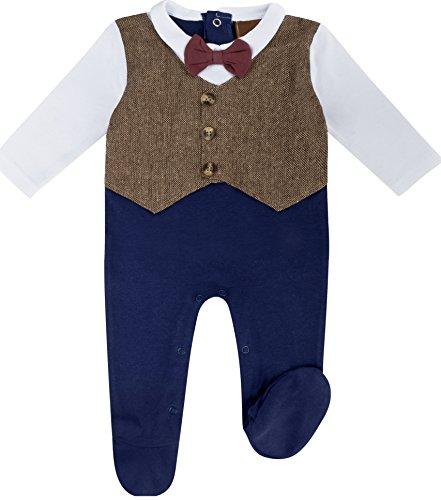 anja-wendt Strampler Baby Jungen kleiner Anzug blau braun Weste mit Fliege perfekt für Feiern und Feste Partyoutfit (74 (6-9)) (Bein Tweed Hose)