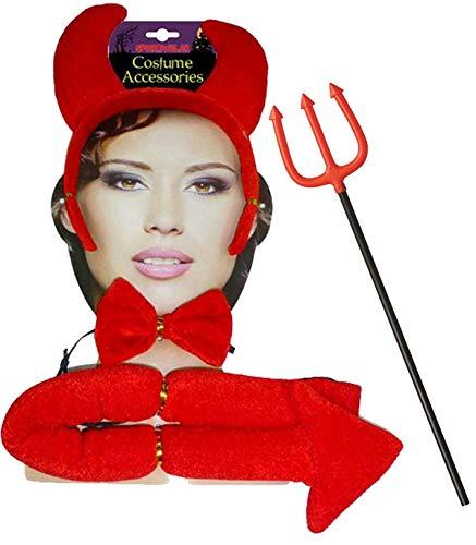 labreeze Red Devil Stirnband Fliege Schwanz Pitchgabel Set Halloween Teufel Kostüm Zubehör (Pimp Teufel Kostüm)