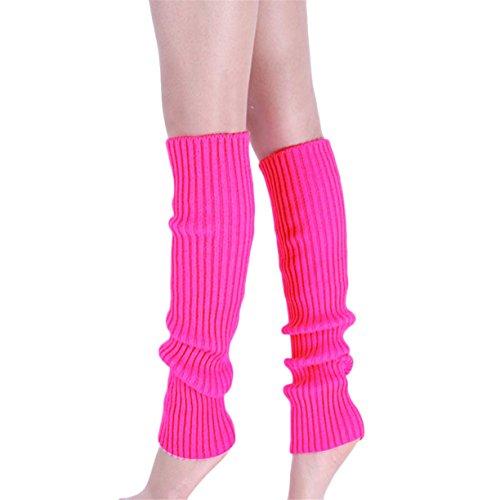femmes-en-tricot-jambe-chaussettes-reaso-pure-colour-boot-cuffs-warmer-knit-leg-bas-rose-vif