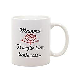 Idea Regalo - bubbleshirt Tazza Mug in Ceramica Festa della Mamma - Mamma Ti Voglio Bene Tanto così- Happy Mother's Day - Idea Regalo