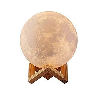 Mond Lampe Kinder Nachtlichter Kinderzimmer Touch-Steuerung Helligkeit LED 3d Mondlampe USB-Laden Tischleuchte Mondschein Lampe mit Holzständer 10cm