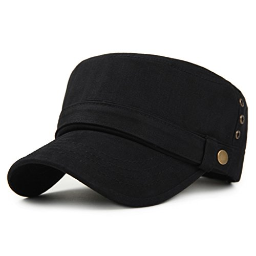 Kuyou Army Military Cap Unisex Basic Baumwolle Sport Kappe (Schwarz) (Formelle Teen Kleidung)