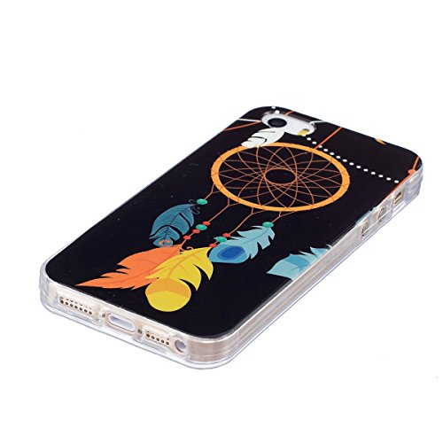 Coque Housse Etui pour iPhone SE/5S/5, iPhone SE Coque en Silicone Clear Etui Housse,iPhone 5S Silicone Coque Transparent Housse Etui Gel Slim Case Soft Gel Cover Skin, Ukayfe Etui de Protection Cas e Noctilucent-Campanule