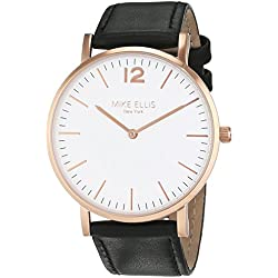 Mike Ellis New York Unisex Quartz Watch with White Dial Analogue Display and Leather bronze - SM4564H3