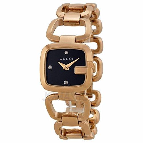 Gucci Gucci G NeGro Diamante Dial Rose Oro PVD Acero inoxidable Acero Damas Reloj YA125512