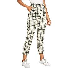 ab95ec65ba Amazon.es  pantalones de cuadros mujer - Amarillo