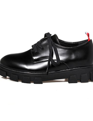 ZQ hug Scarpe Donna - Stringate - Casual - Creepers / Punta arrotondata / Chiusa - Plateau - Finta pelle - Nero , black-us8 / eu39 / uk6 / cn39 , black-us8 / eu39 / uk6 / cn39 black-us6.5-7 / eu37 / uk4.5-5 / cn37