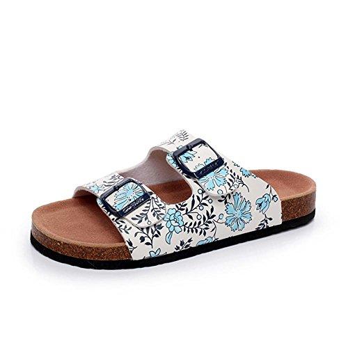 Heart&M Cork Mode Anti-dérapant talon plat pour femme Flat Sole Plate-forme de boucle de ceinture Floral Chaussons Sandals Chaussures de plage blue and white