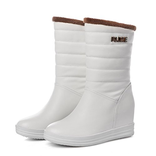 VogueZone009 Damen Ziehen Auf Mittler Absatz Pu Leder Eingelegt Niedrig-Spitze Stiefel Weiß