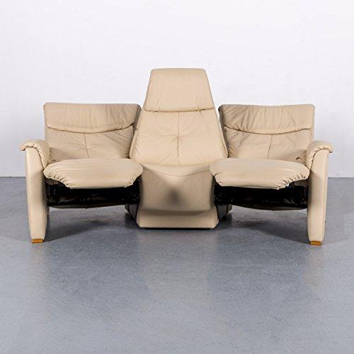 Himolla Trapez Leder Sofa Creme Beige Dreisitzer Couch Relaxfunktion Kinosessel #5905 Minimale Gebrauchsspuren (Sofa Couch Leder)