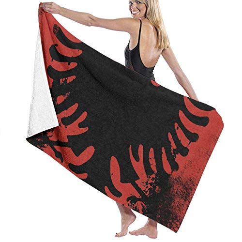 Zhengzho L'aquila della Bandiera albanese Asciugamani da Piscina in Microfibra 80X130 cm Quick Dry Altamente Assorbente Uso Multiuso Coperta da Spiaggia per Donna Uomo