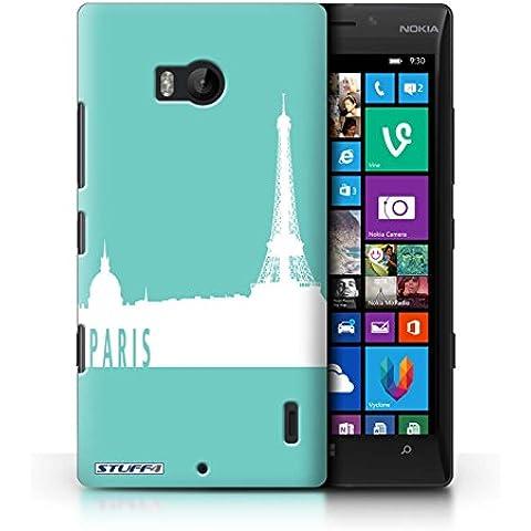Custodia/Cover Rigide/Prottetiva STUFF4 stampata con il disegno Skyline della città per Nokia Lumia Icon - Parigi/turchese