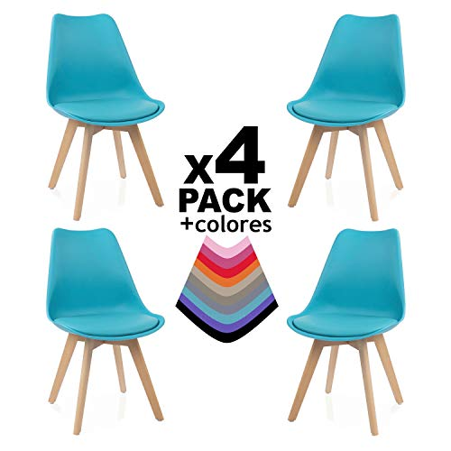 duehome - Beench - Pack de 4 sillas, Madera de Haya, 49...