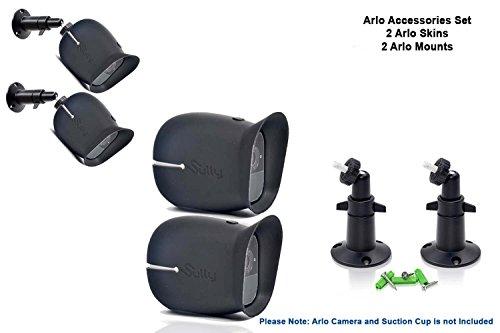 Galleria fotografica Set con accessori per Telecamera Arlo Pro e Pro2 con (2pezzi) Custodie Arlo & Pro2 E (2pezzi) Supporti Neri da 10cm per Telecamera Arlo Netgear Cover Fodera Wireless All'aperto Regolabile sul Muro Pro 2 da Sully