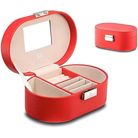 Vlando - Joyero pequeño de viaje de piel sintética con espejo para anillos, pendientes o collares, Rojo, Coral