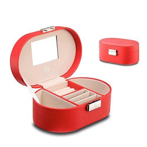 Vlando, in pelle sintetica, con scatola organizer Jewellry alluminio per