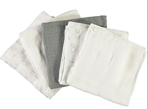 name it Baby 5 Pack Nappie, Stoffwindeln, Spuckwindeln, Nappie Hasen, Häschen