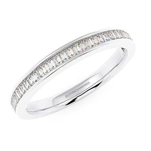 Baguette, 0,30 kt con fedina a binario e diamanti in oro bianco, oro bianco, 10,5, cod. hdr0308.5