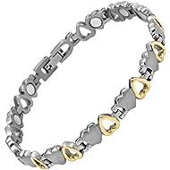 Willis Judd New Ladies Love Heart Design Titanium Magnetic Bracelet In Black Velvet Gift Box + Free Link Removal Tool